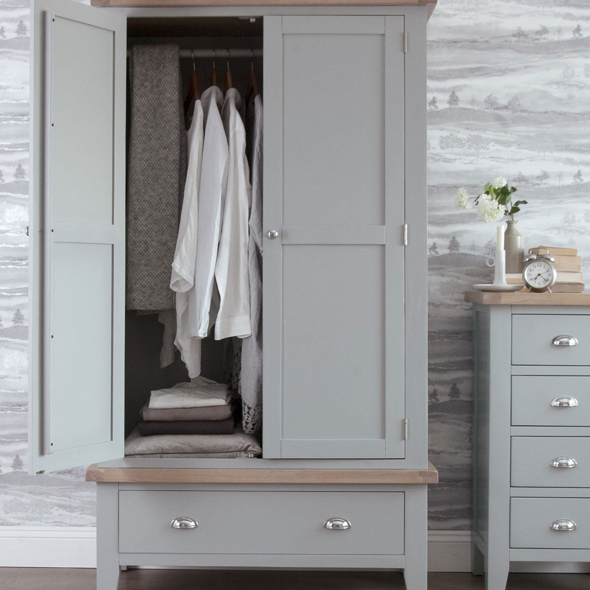 Seville Grey Large 2 Door Wardrobe