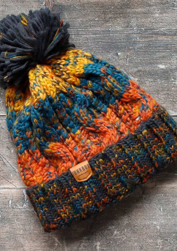junkbox orange & blue bobble hat