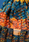 orange & blue junkbox bobble hat