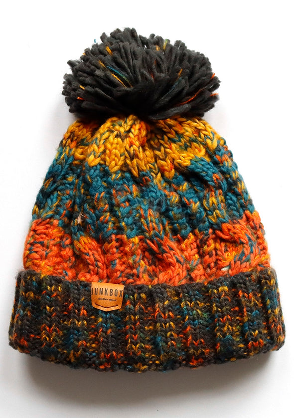 orange & blue bobble hat
