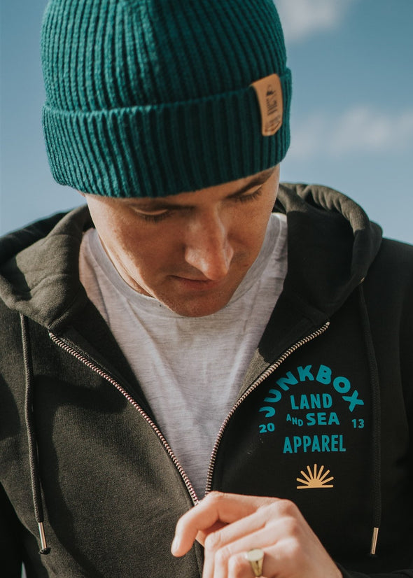 junkbox teal engineered beanie