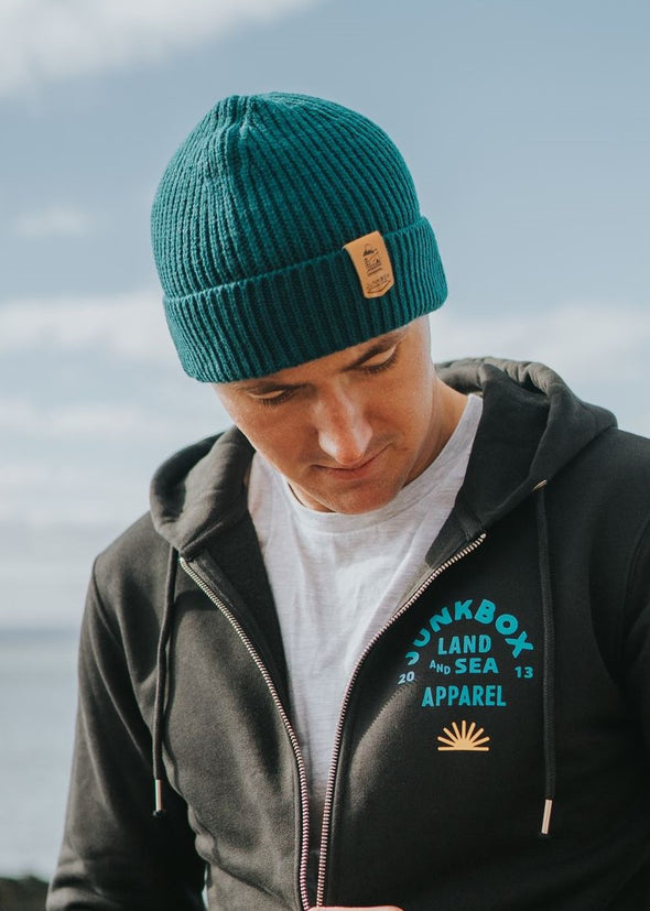 teal engineered beanie