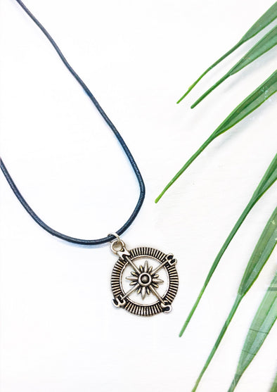 black leather compass necklace