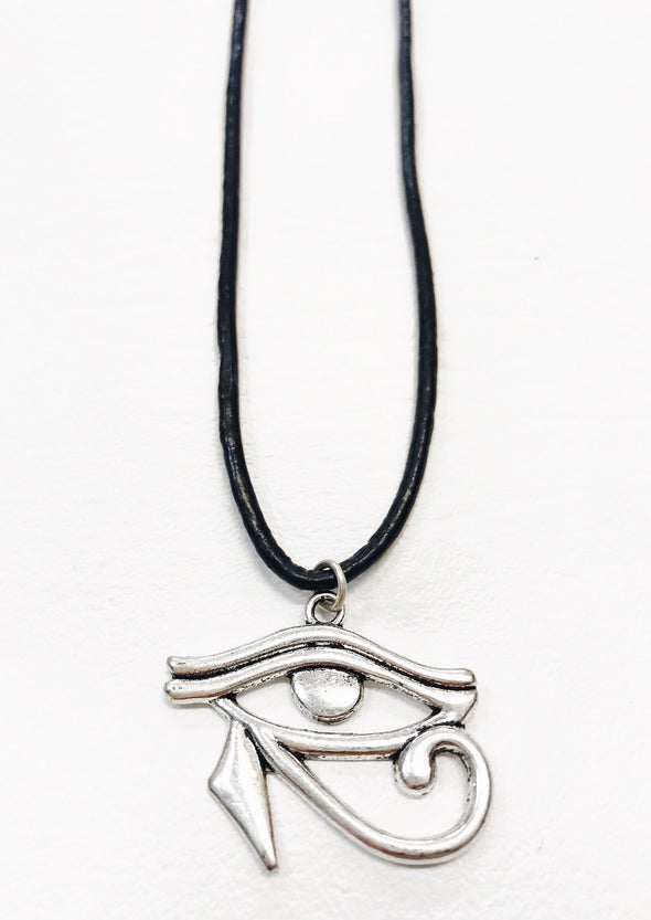 eye of horus black leather necklace