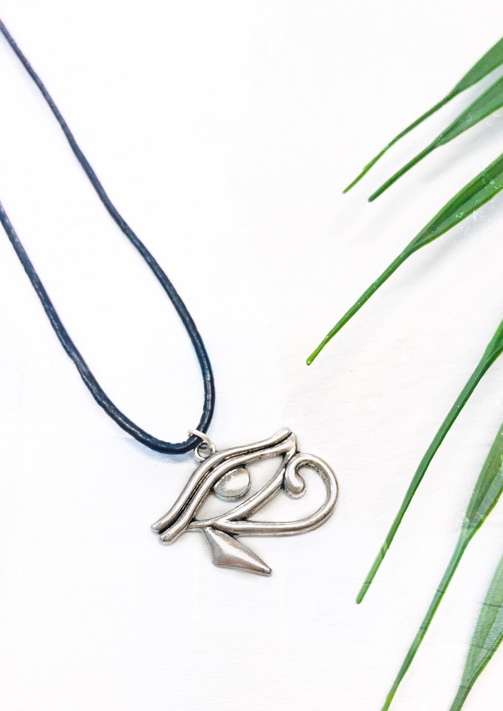 black leather eye of horus necklace