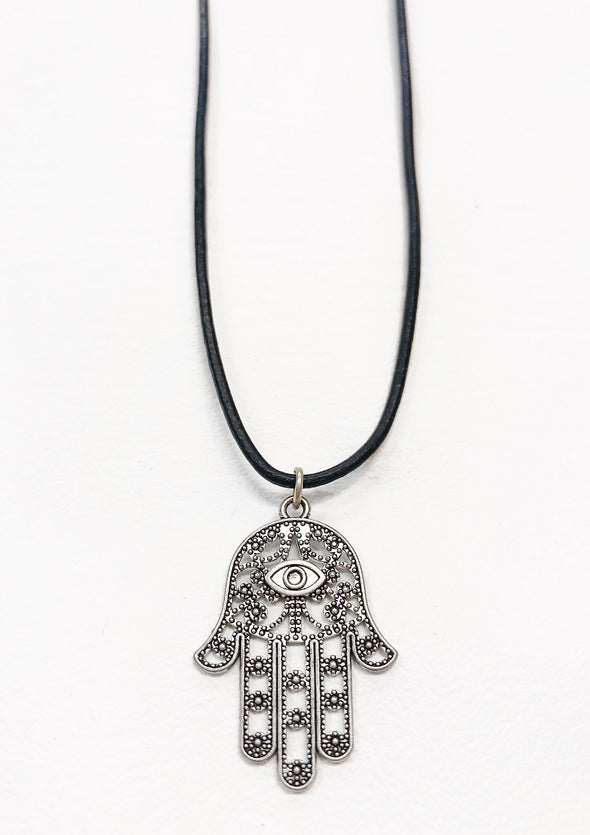 hamsa black leather necklace