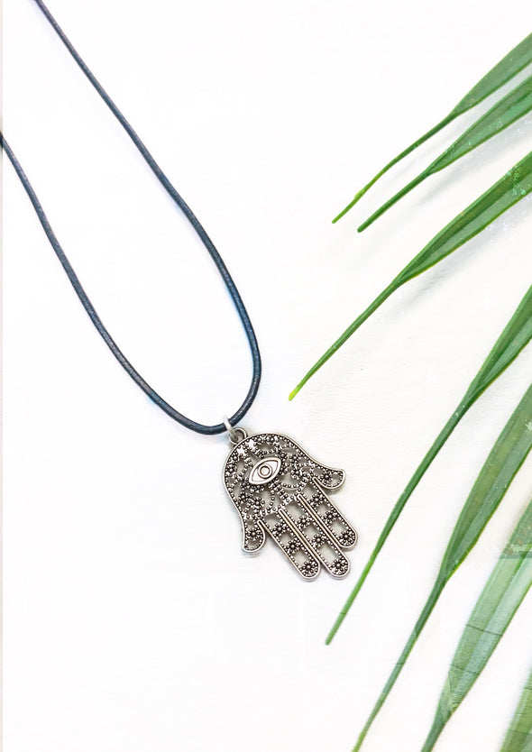 black leather hamsa necklace