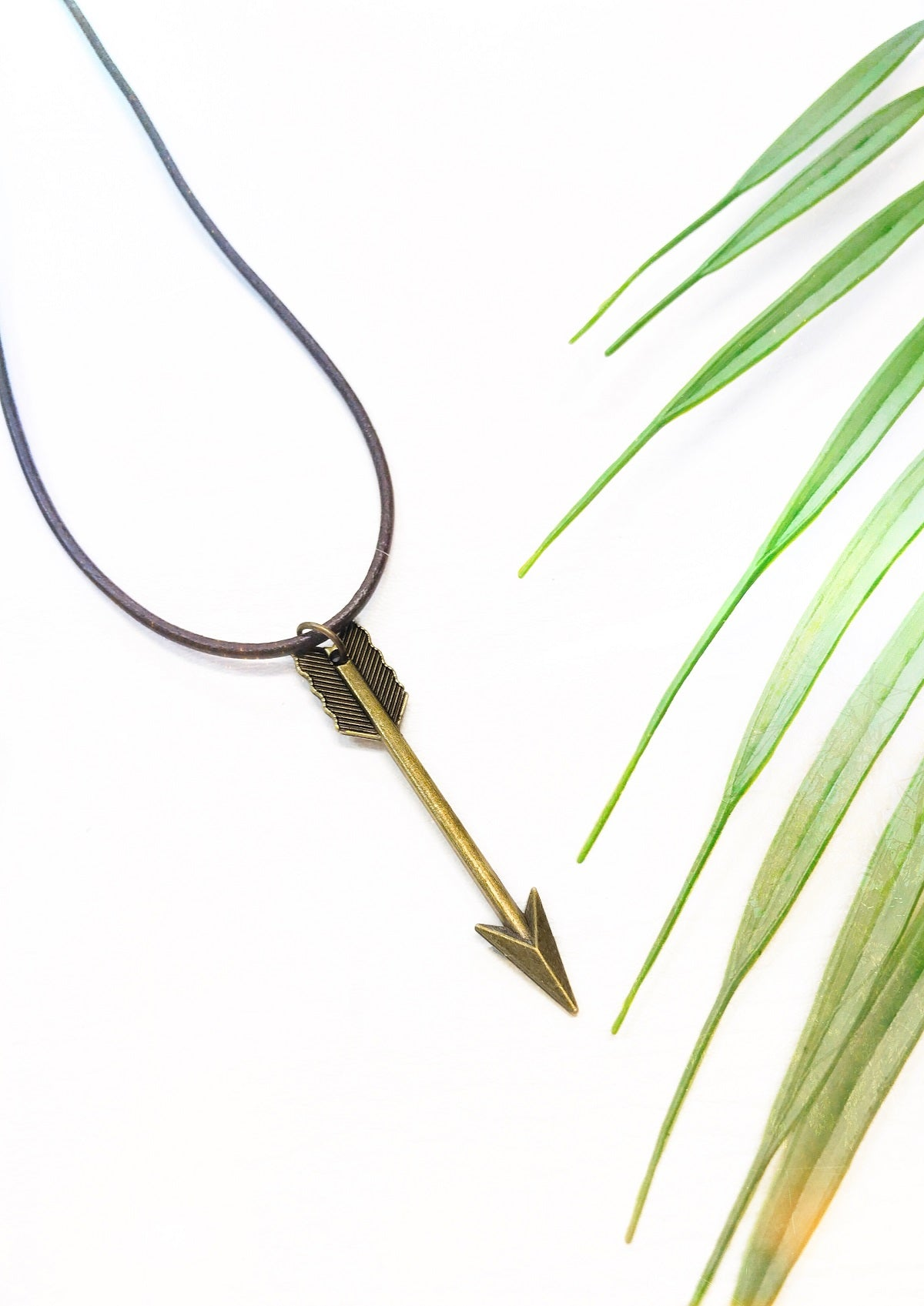 brown leather arrow necklace
