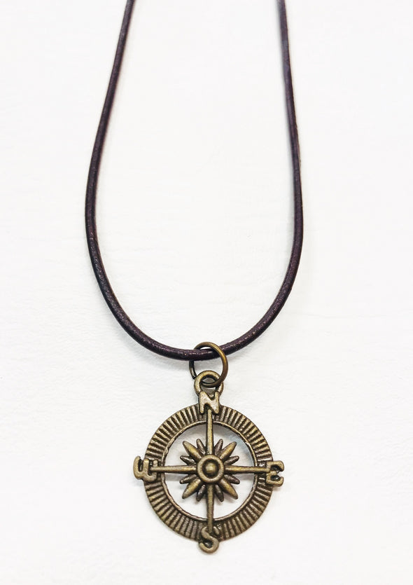 junkbox leather compass necklace