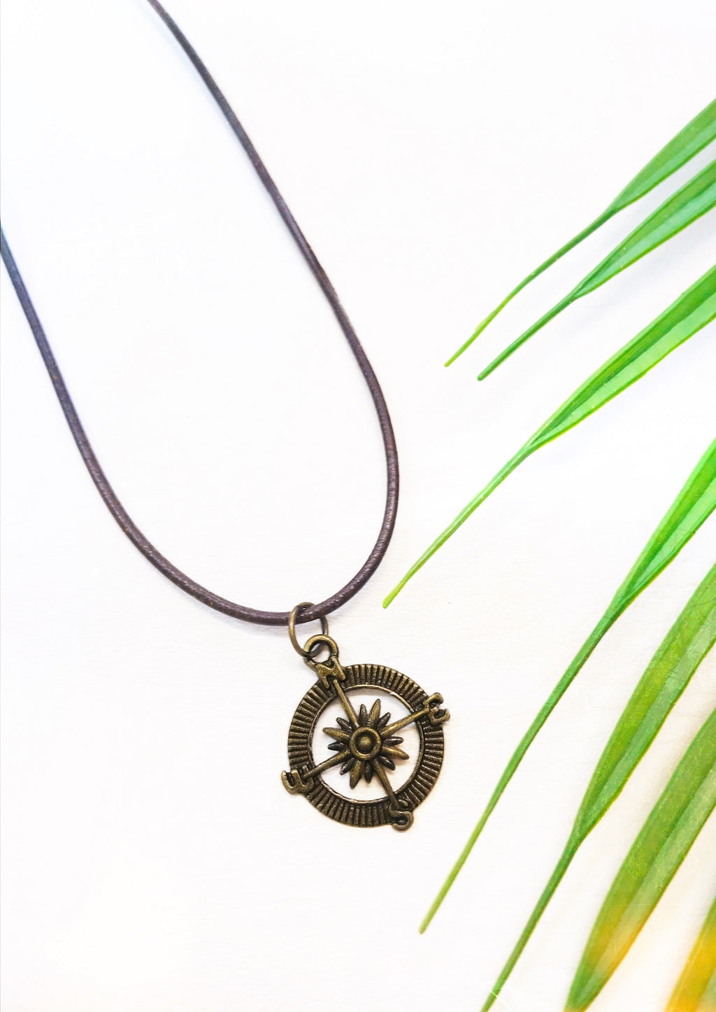 brown leather compass necklace