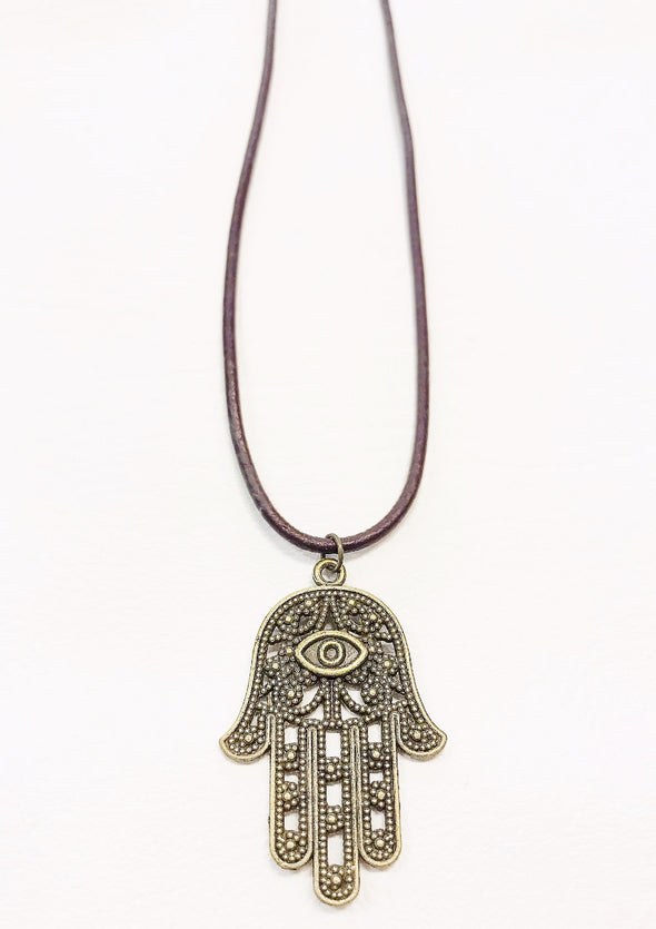 hamsa leather necklace