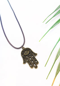 brown leather hamsa necklace