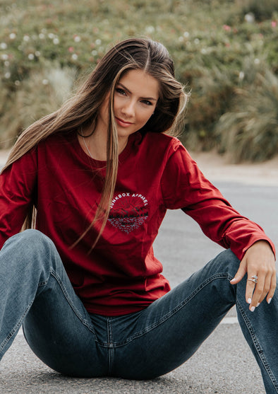 lakeside burgundy long sleeve tshirt