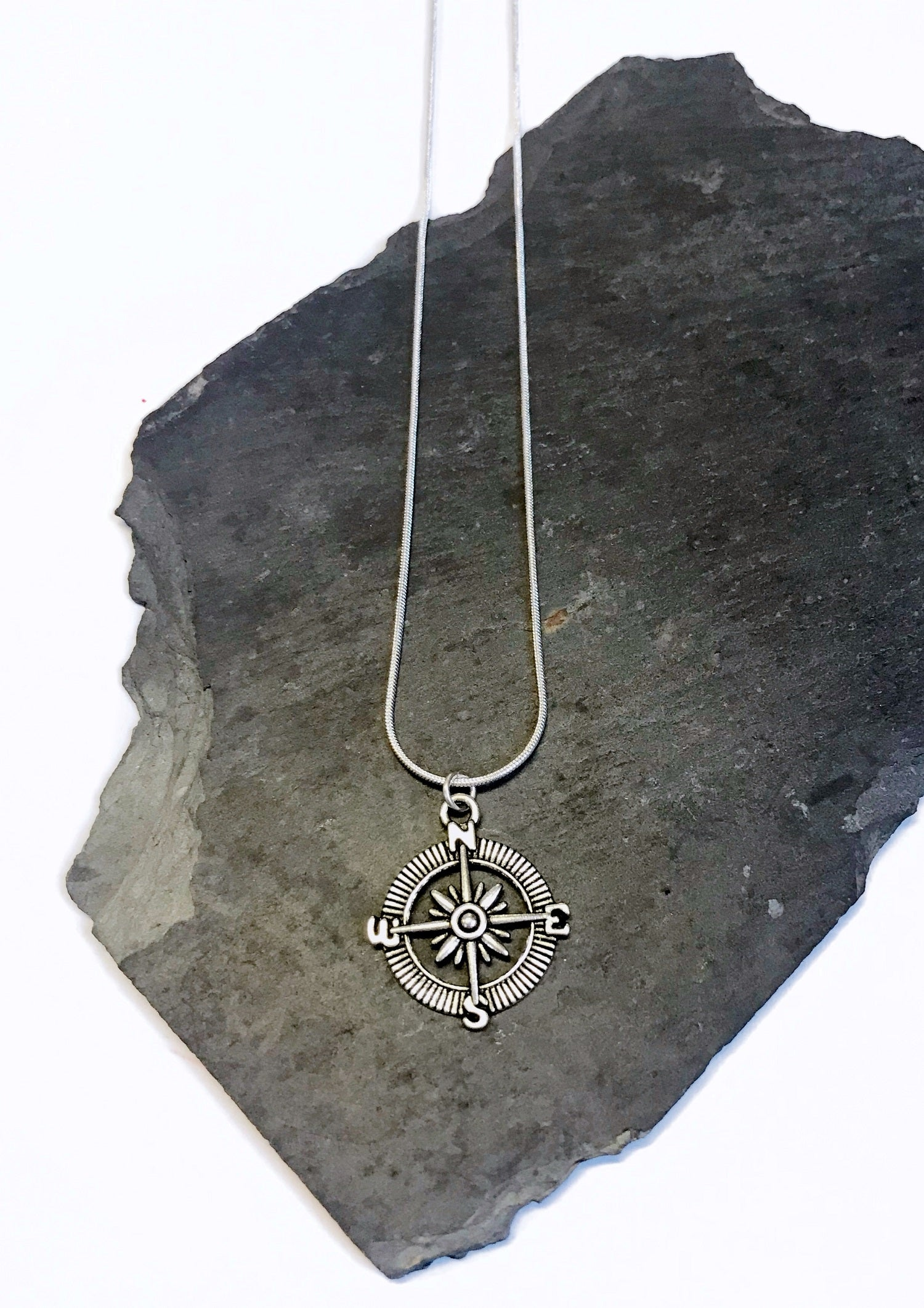 silver junkbox compass necklace