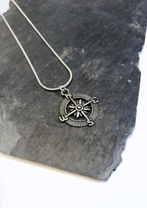 silver compass junkbox necklace