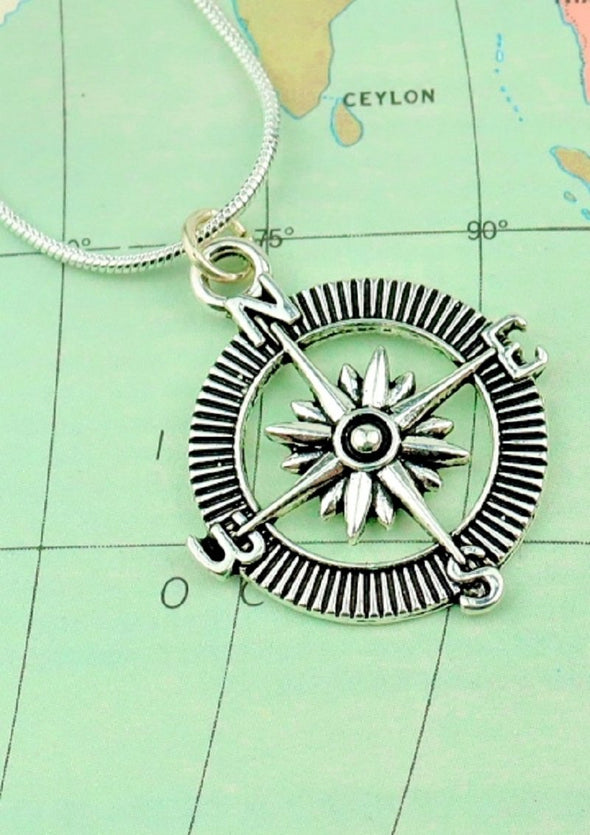 silver compass charm necklace
