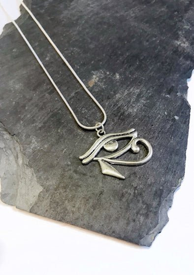 silver eye of horus junkbox necklace