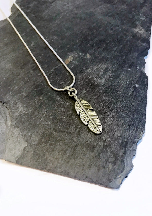 silver feather junkbox necklace
