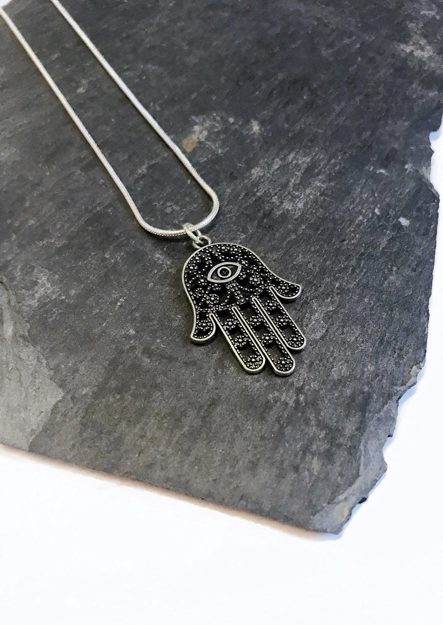 silver hamsa junkbox necklace