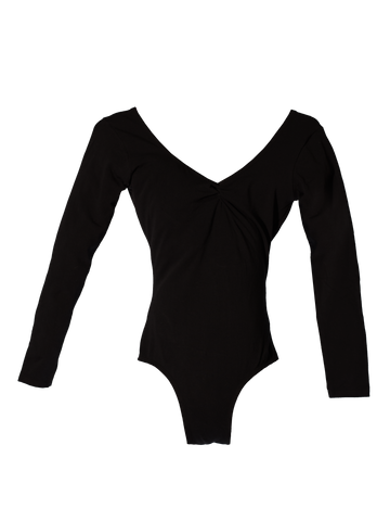 Maya - Pitch Front - Long Sleeve Leotard with Medium V-back
