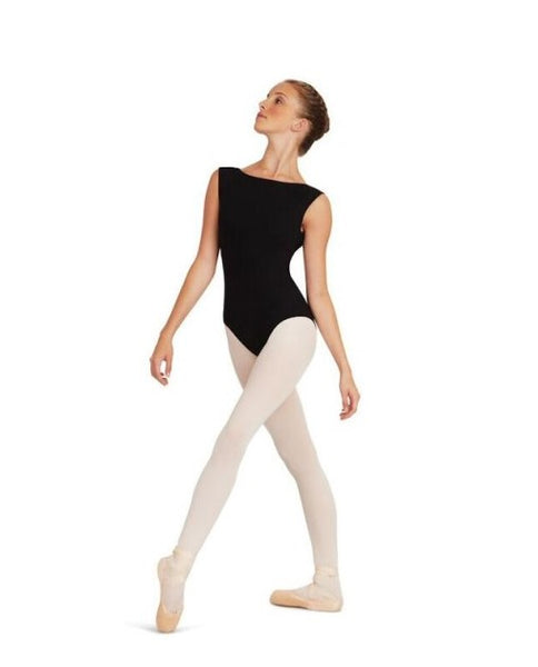 Capezio boatneck leotard with low back - black