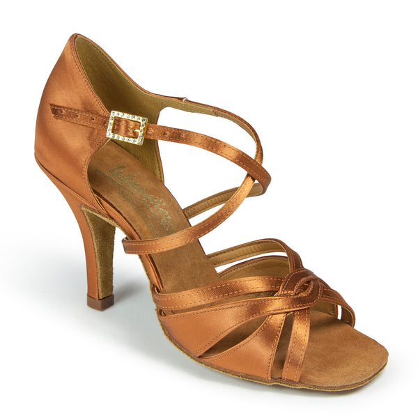 International Dance Shoes - Mia - Tan Satin
