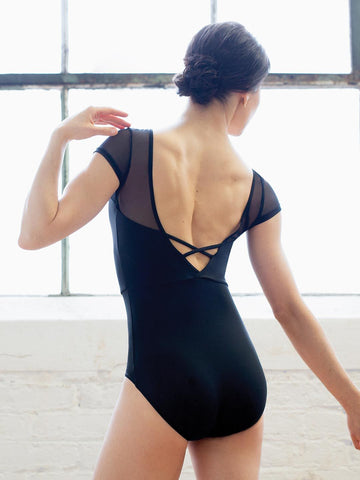 Capezio Meryl Mesh Yoke Short Sleeve Leotard