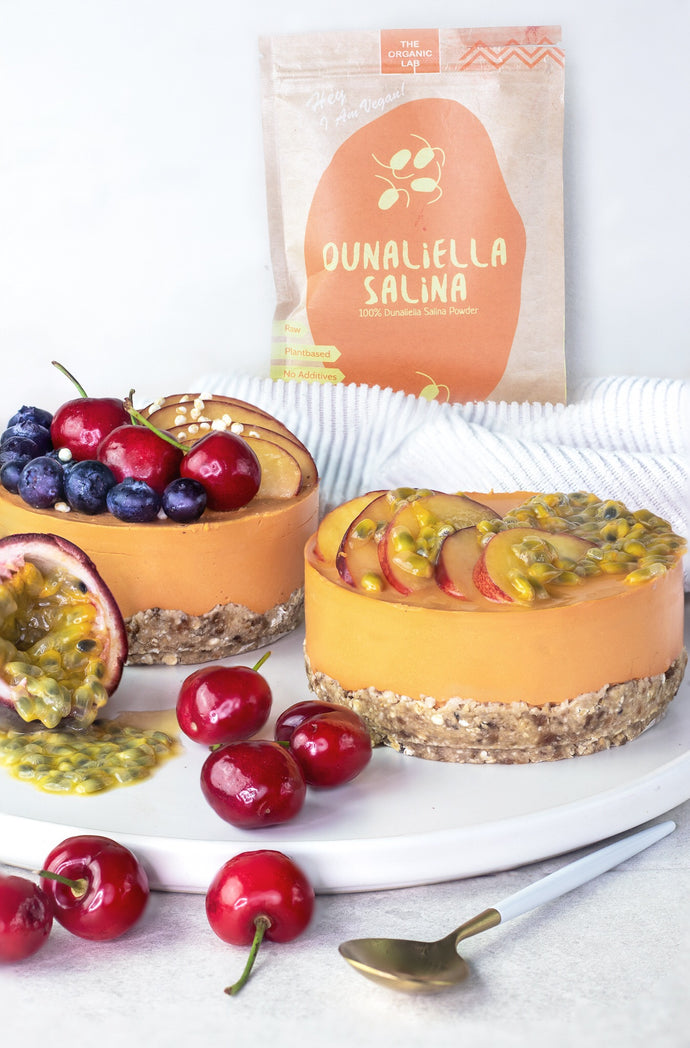 Mango , Passion Fruit and Dunaliella Salina Cheesecake