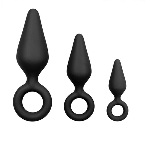BLACK BUTT PLUGS WITH PULL RINGS - SET