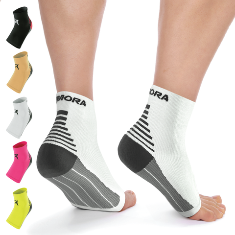 White Plantar Fasciitis Foot Compression Sock Sleeves