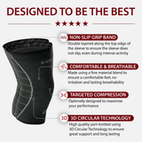 Knee Compression Sleeve Support Braces Black (Two Pack)