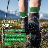 Merino Wool Hiking Socks (Green) (1 pair)