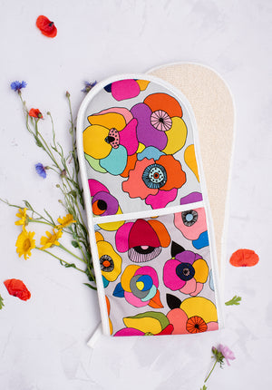 Poppy Pink Floral Oven Glove