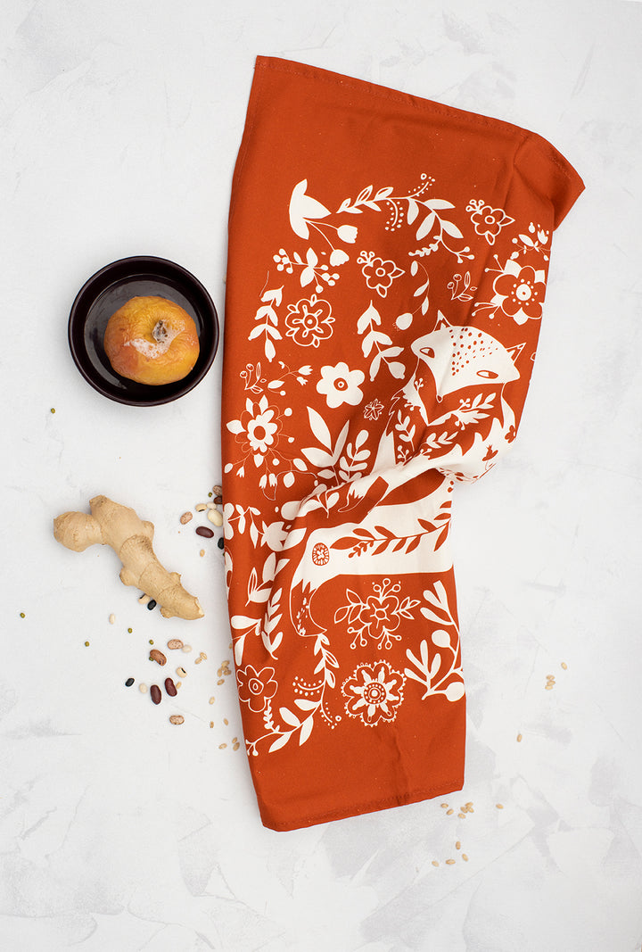Fox Tea Towel in Rusty Orange