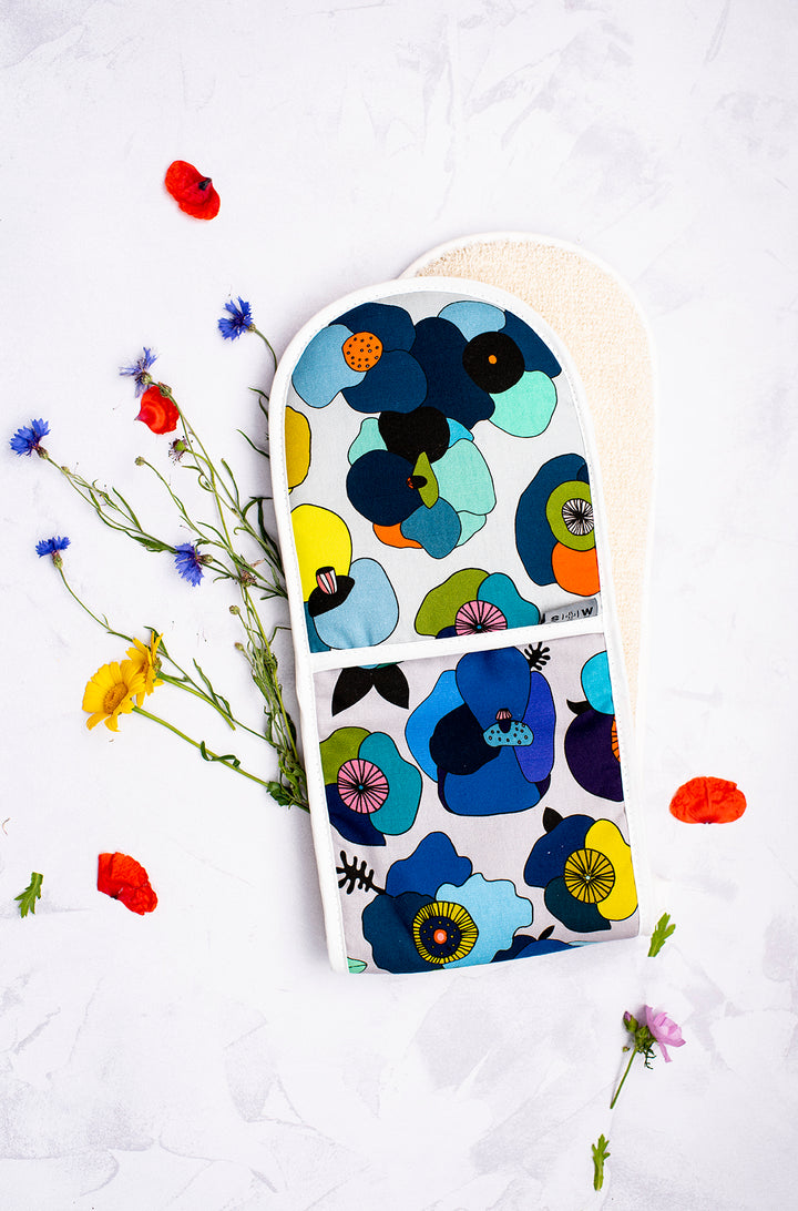 Floral Poppy Blue Oven Glove