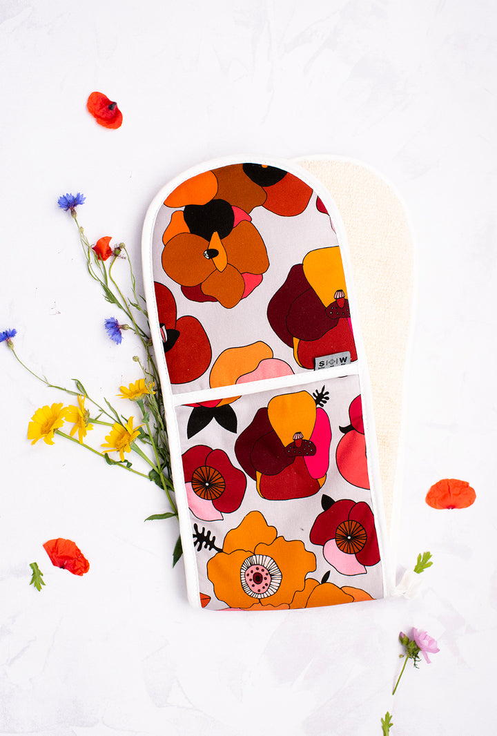 Poppy Red Floral Oven Glove