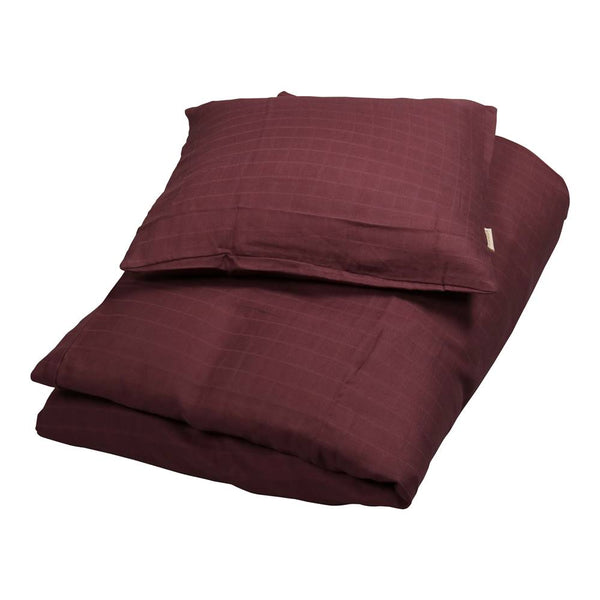 Muslin Juniorsengesæt, Plum / Bordeaux