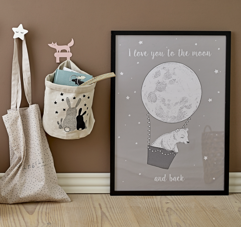 "Plakat, Grå ""I love You to the Moon and back"""