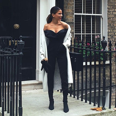 4314a0d39f80 ... New Spring Women Jumpsuit 2019 Sexy Off The Shoulder Runway Jumpsuits  Black Celebrity Party Bodysuits Bodycon
