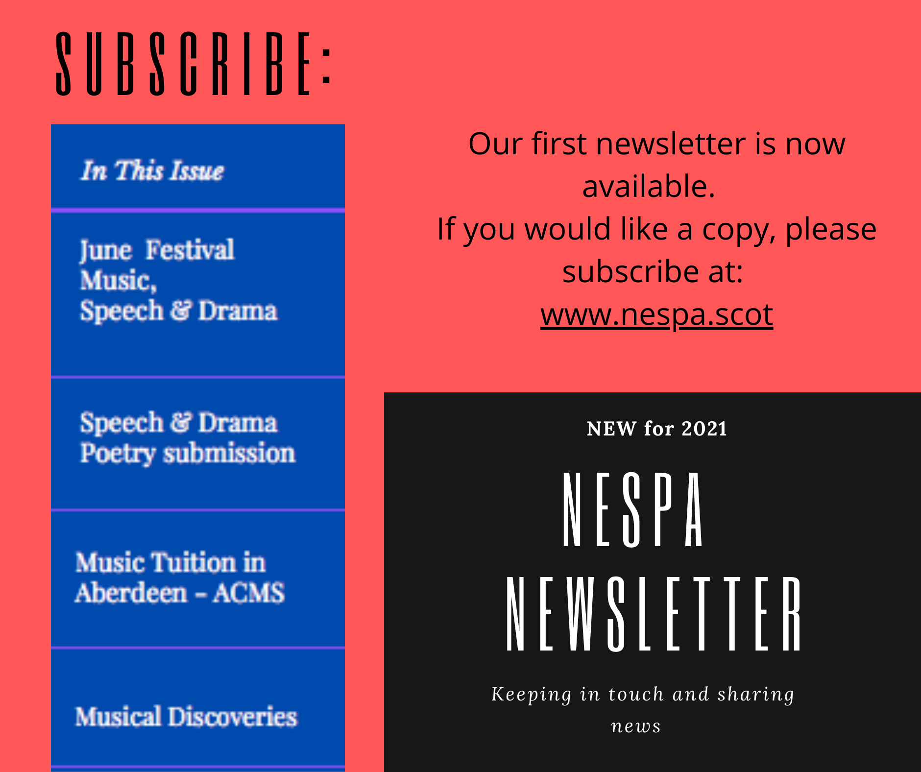 FIRST NEWSLETTER NOW AVAILABLE