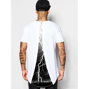 Men Lightning Print High Low Tee