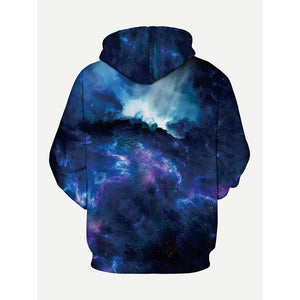 Men Abstract Sky Print Hooded Sweatshirt