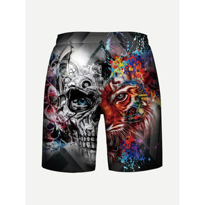 Men Tiger Print Drawstring Shorts