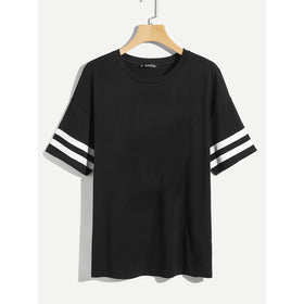 Men Varsity Striped Sleeve T-shirt
