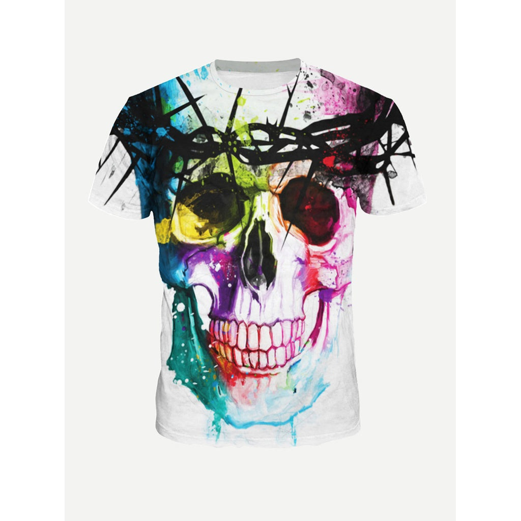 Men Abstract Skull Splatter Drip Tee