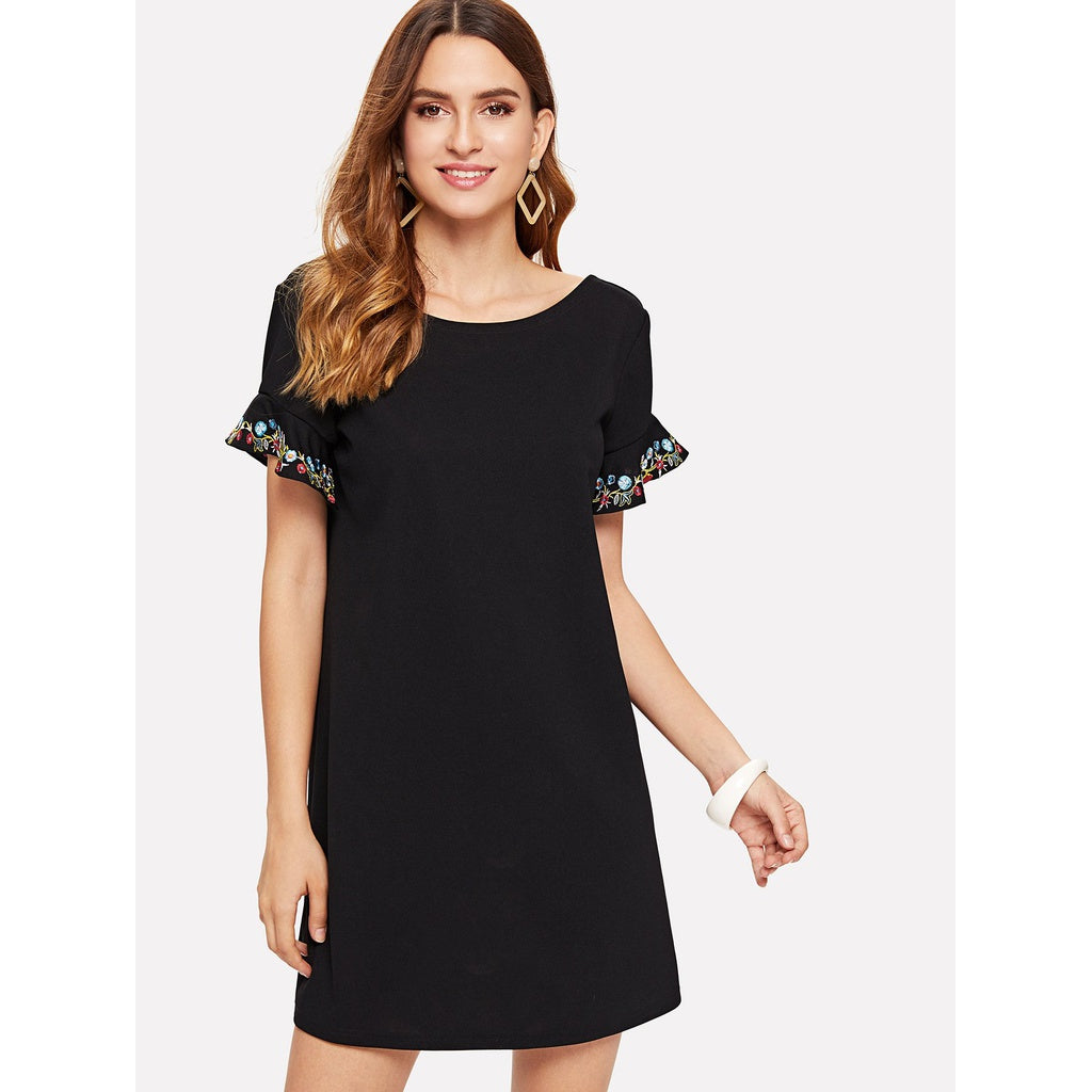 Embroidery Flounce Sleeve Tunic Dress