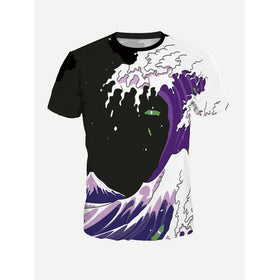 Men Waves Print Tee