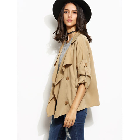 Khaki Drape Collar Roll Tab Sleeve Short Trench Coat