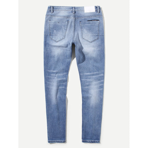 Men Washed Destroyed Jeans