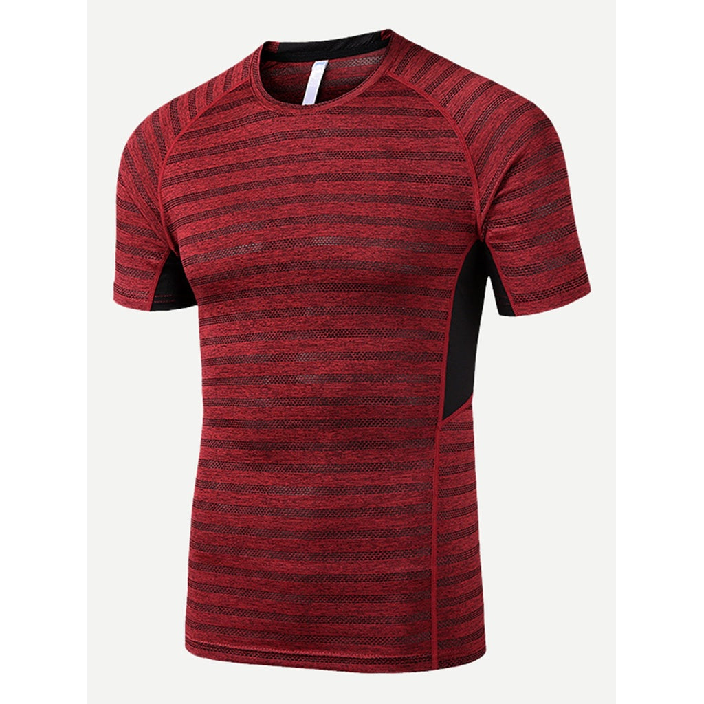 Men Contrast Panel Striped Tee